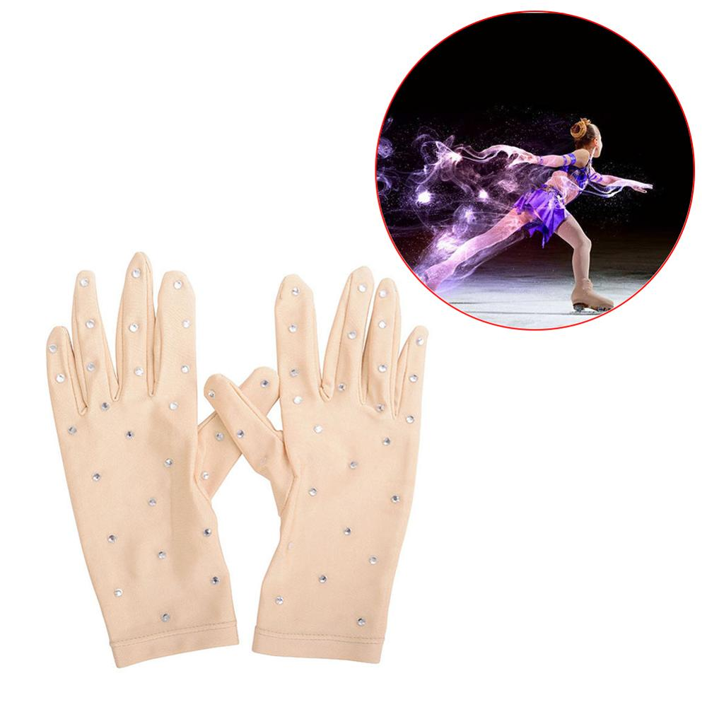 Spring Women Figure Ice Skating Gloves With Rhinestones For Competition Show Performance Skating Glove