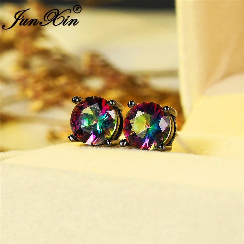 Female Male 8MM Rainbow Fire Crystal Round Earrings White Gold Black Gold Colorful Zircon Wedding Stud Earrings For Men Women Cz
