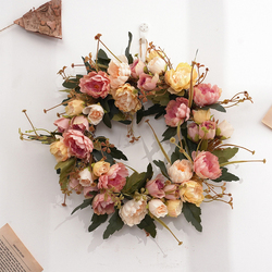 Silk Peony Artificial Flowers Wreaths Door Simulation Garland for Wedding Home Party Decoration Wall Door Candle Holder Decor