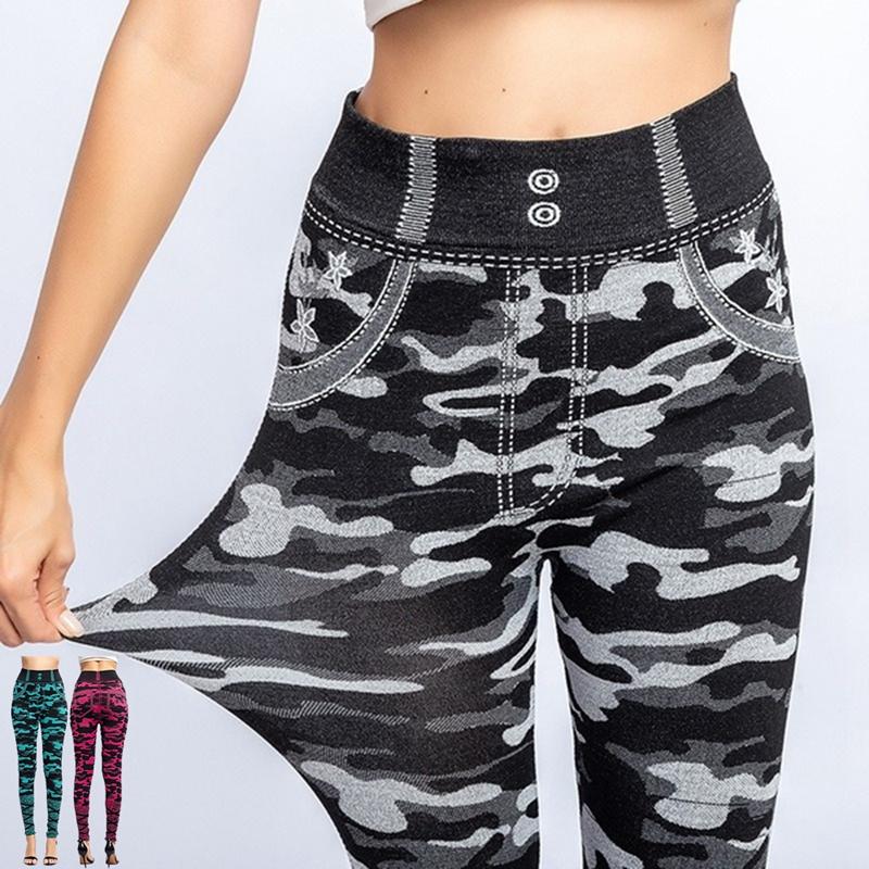 Women\'s Imitation Jeans Leggings Pants Stretchable Slim Fitness Leggings Faux Denim Jeans High Hips Sports Pencil Pants Casual