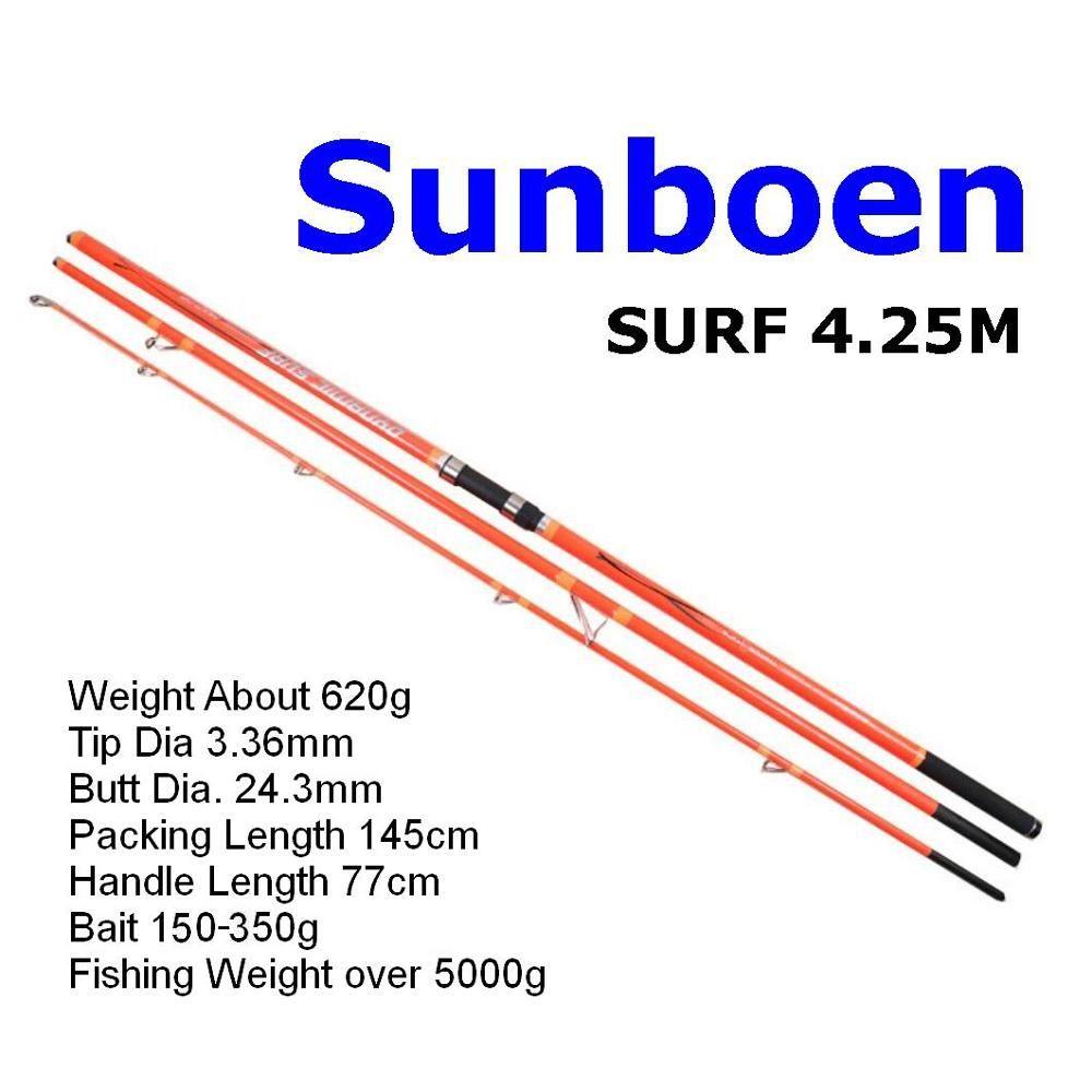 Sunboen 620g 5000g Powerful Carbon Fiber Far Casting Surf Fishing Rod Plug Spinning 3 Sections 4.25M Tip Dia 3.4mm Bait 150-350g