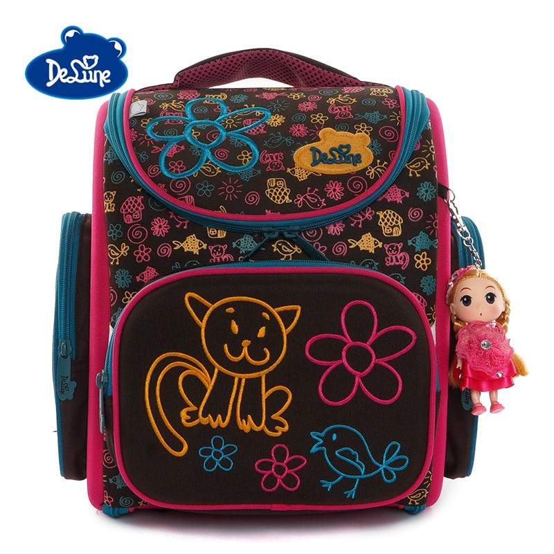 2019 Delune 1 4 Grade Kids Orthopedic School Bag Girls Fashion 3D Schoolbag Child Boys Primary