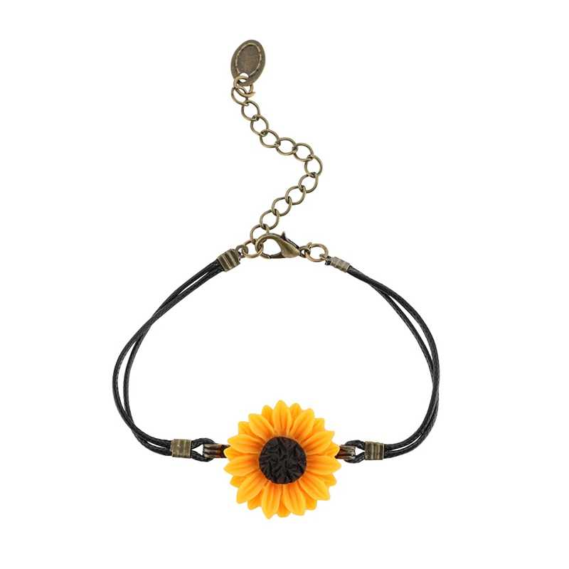 1pcs Handmade Pu Leather Rope Sunflower Beads Bracelet For Women Girls Friendship Sisters Beads Bracelets Jewelry Wholesale