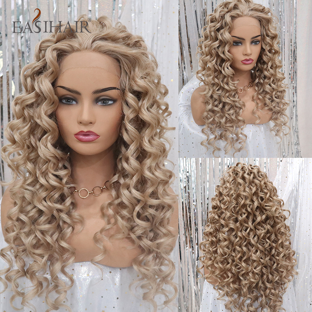 EASIHAIR Blonde Long Curly Lace Front Wigs Highlight Synthetic For Women Lace Front High Density Daily Party Cosplay Wigs