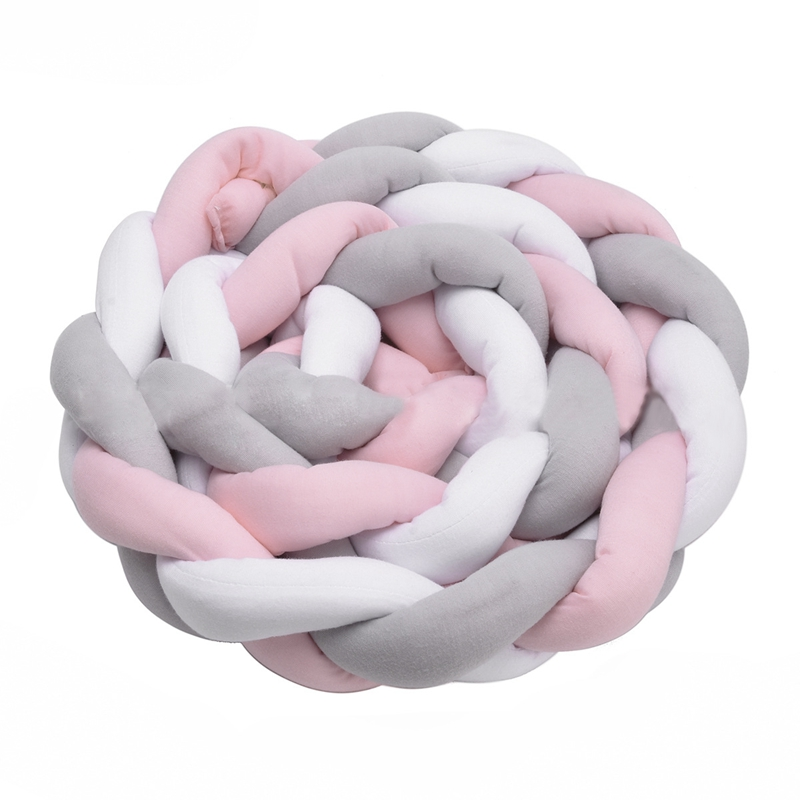 Baby Crib Bumper Knotted Braided Plush Nursery Cradle Decor Newborn Gift Pillow Cushion Junior Bed Sleep Bumper (2 Meters, White