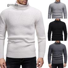 Autumn Winter Sweaters & Jumper Pullover Men 2019 Turtleneck Solid Color Slim Casual Knit Shirt Men's Bottoming Shirt