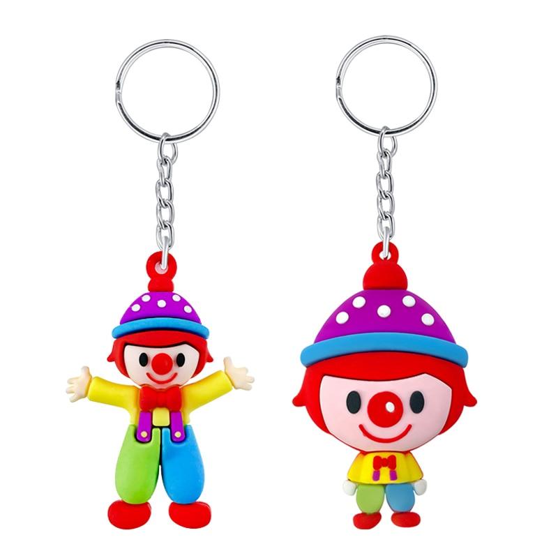 Creative Small Gifts PVC Soft Cartoon Cute Big Head Clown Doll Keychain Pendant Bag Accessories Custom