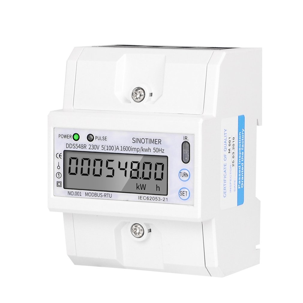 Modbus RS485 5-100A 230V AC Power Meter Single Phase DIN Rail LCD Digital Display Electronic KWH Meter Kilowatt Hour Sale image