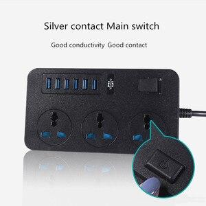 "Image 5 - מפצל חשמל הארכת שקע עם ראשי Swich 2M כבל האיחוד האירופי בריטניה ארה""ב תקע אוניברסלי Adapte 3/6 AC פלט 3/6 USB יציאות 10A"