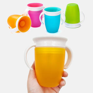 Plastic-Cup Rotated Drinking Learning Double-Handle Magic Baby Leakproof 360-Degrees