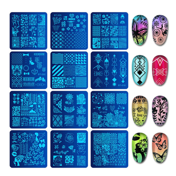 Biutee 6*6cm Square Nail Stamping Plates Design Lace Flower Temperature Nail Art Stamp Stamping Template Image Plate Stencils 1