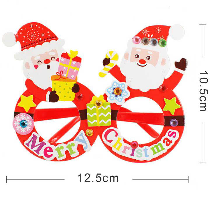 Papel creativo Navidad Santa gafas niños Diy hecho a mano materiales jardín de infantes artesanía juguetes regalo de Navidad para niños GYH