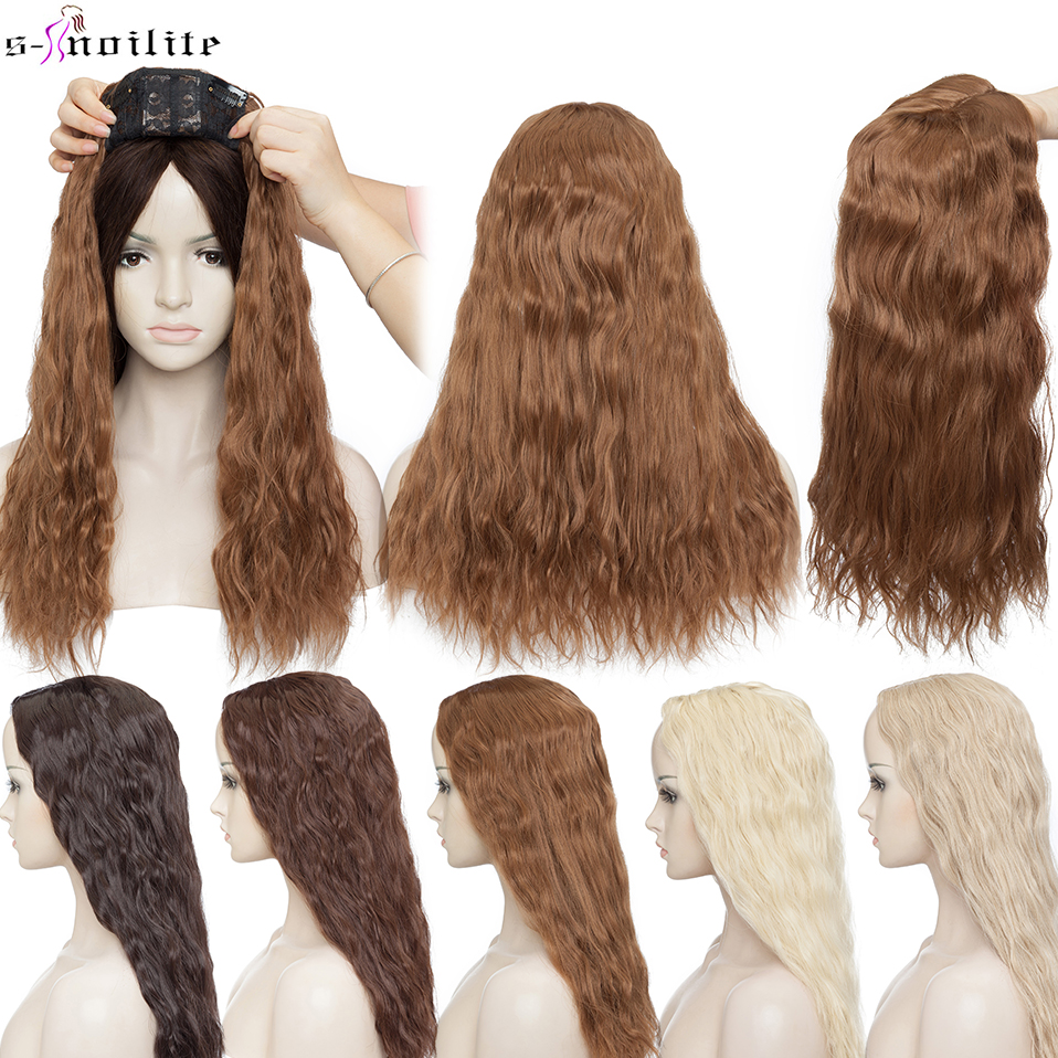 SNOILITE 20'' Water Wave Clip In Topper One Piece Haipiece Black Brown Long Corn Wave Hair Extension Clip In Toupee For Women