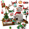 Disney Snowman House Building Blocks Christmas Tree Bricks Santa Claus Mini Action Figures Light Toys For Children Gifts