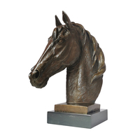 Bronze Horse Head Figurine Statue Animal Bust Sculpture with Marble Base Office Desk Living Room Decor