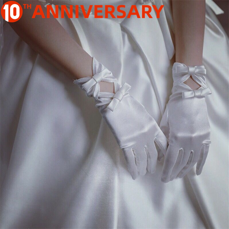 OLLYMURS Wedding Gloves Lace White Bow Short Satin Gloves Wedding Accessories Flower Girl White Gloves