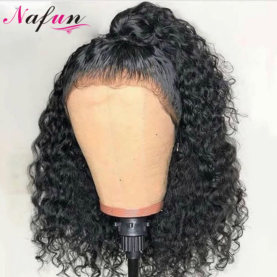 Nafun 4x4 Lace Closure Wig Short Human Hair Wigs For Women Peruvian Remy Kinky Curly Wig Closure Wig Swiss Lace Wig 150% Density