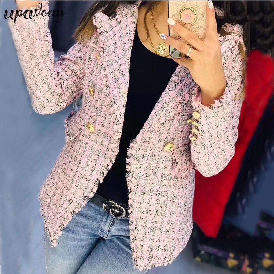 Winter New Double-Breasted Jacket Female 2019 Women'S Notched Collar Long-Sleeved Plaid Slim Coat Fashion Sexy Party Coat