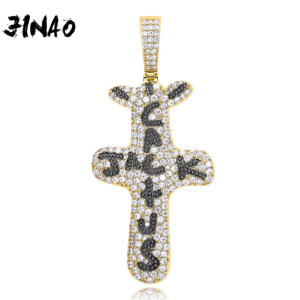 JINAO New Hip Hop Fashion Ice Out Cactus Jack Letters on Necklace & Pendant Bling Cubic Zircon Men's charm jewelry gifts(China)