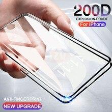 Изогнутое закаленное стекло 200D для iphone 7 6 6S 8 Plus, Защита экрана для iphone X XS MAX XR, Защитное стекло для iphone 11 PRO MAX