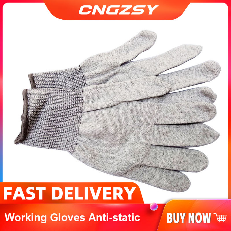 CNGZSY Working Gloves Anti-static Wearable Eco-friendly Carbon Fiber Nylon Safety Install Glove Vinyl Wrapping Driver Gloves D08
