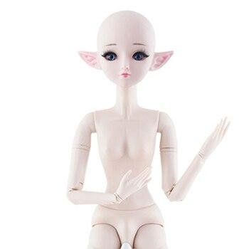 New 60cm 21 Movable Joints Elf Bjd Dolls Toy Blue Black 3D Eyes DIY Makeup Naked Nude BJD Doll for Girls Gift