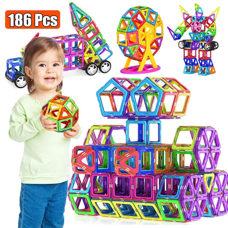 Büyük boy manyetik tasarımcı mıknatıs yapı taşları aksesuarları eğitim kurucu oyuncaklar