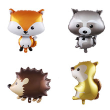 Forest animal balloon fox raccoon squirrel aluminum infant birthday party shower decorative