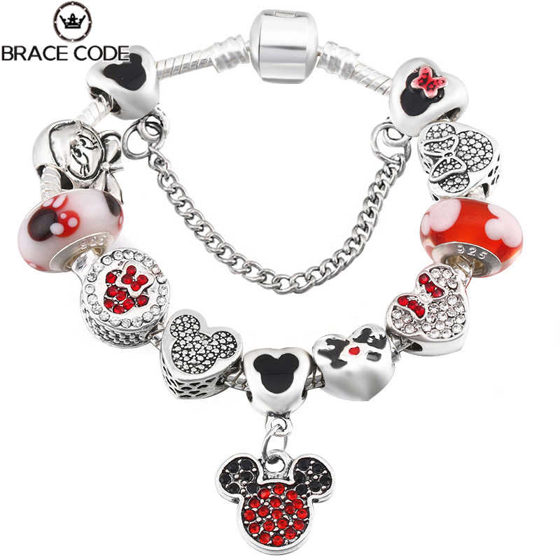 Cartoon Mickey Minnie Kralen Bedelarmband Withsilver Plated Ketting Pandoro Armband & Bangle Voor Vrouwen Kids Sieraden Dropshipping