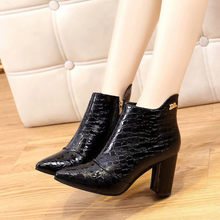 2019 Leather Short Boots Womens Fashion Shoes Pointed Toe High Square root heels Short Boots sexy Ladies Side Zipper Bare Boots(China)
