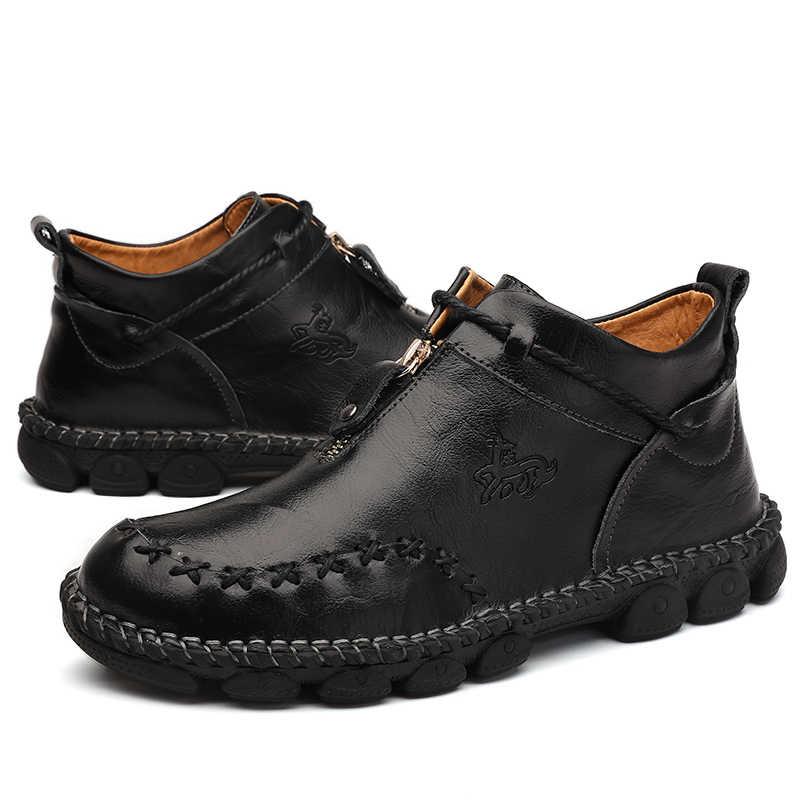 Yeni kış çizmeler erkekler hakiki deri yumuşak erkek rahat ayakkabılar rahat yüksek kaliteli ayakkabı erkek yarım çizmeler moda büyük boy
