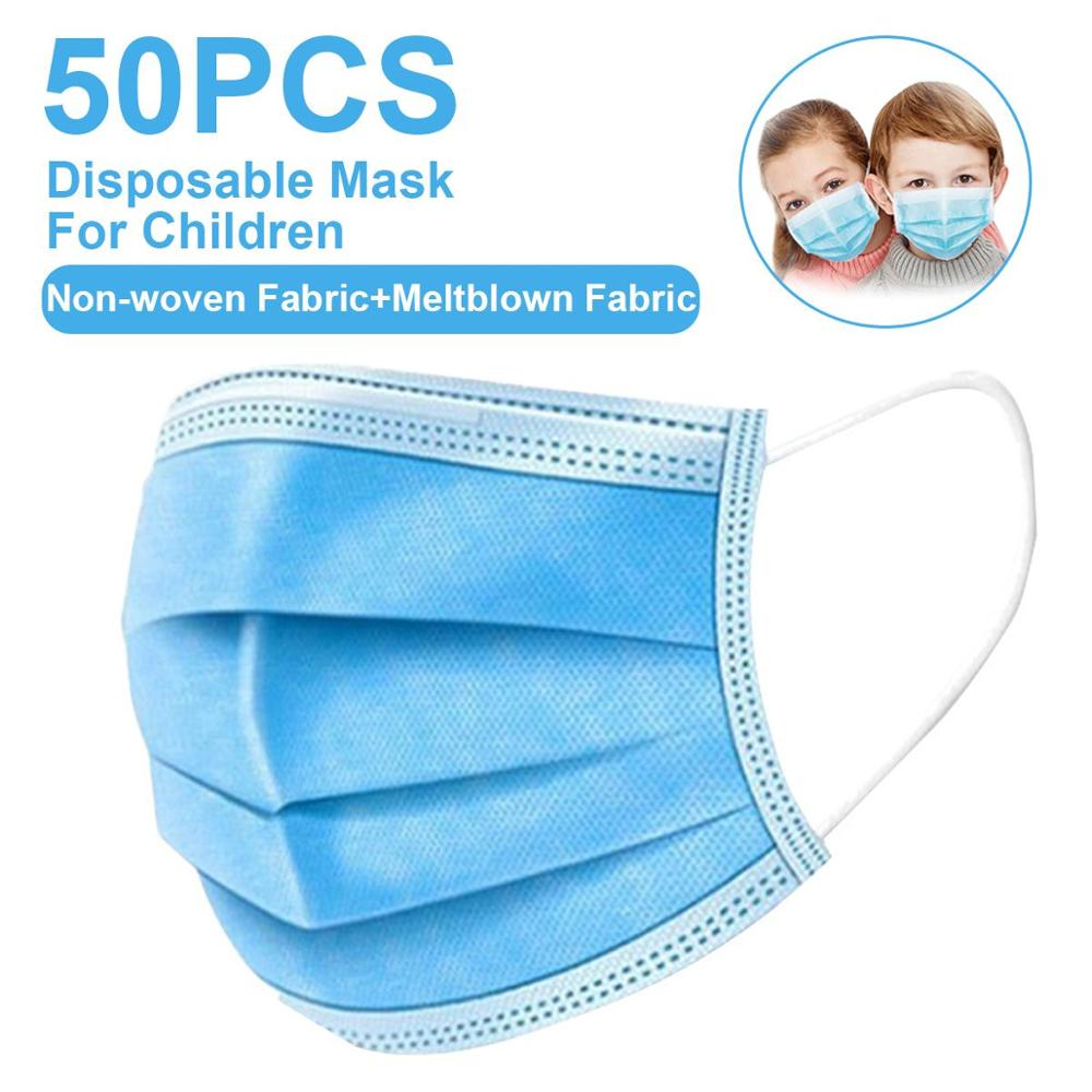 50pcs Childre Mask 3 Layer Disposable Face Mask Kids Soft Breathable Anti-virus Children Face Mask Anti-pollution Fast Delivery