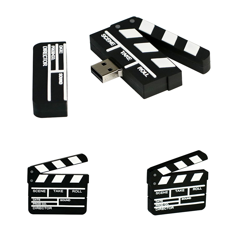 Memory Stick U Disk Film Movie Clap-stick Cute Pen Drive 32GB 128GB 64GB 256 8 4 16 Gb USB Flash Drive Pendrive Movie Slate Gift