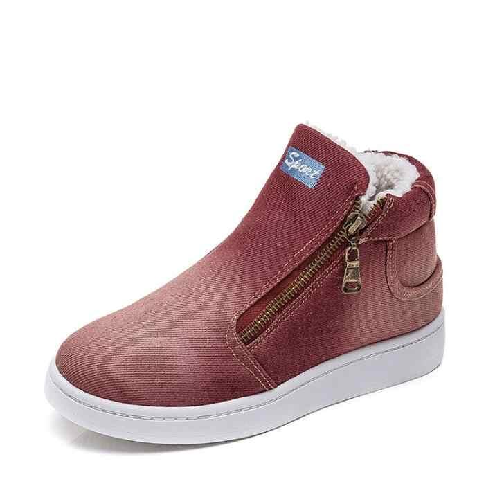 Top zapatos de invierno Mujer Denim Jeans botas de lana empujar botas para la nieve de invierno de las mujeres zapatos casuales planos zapatos de mujer