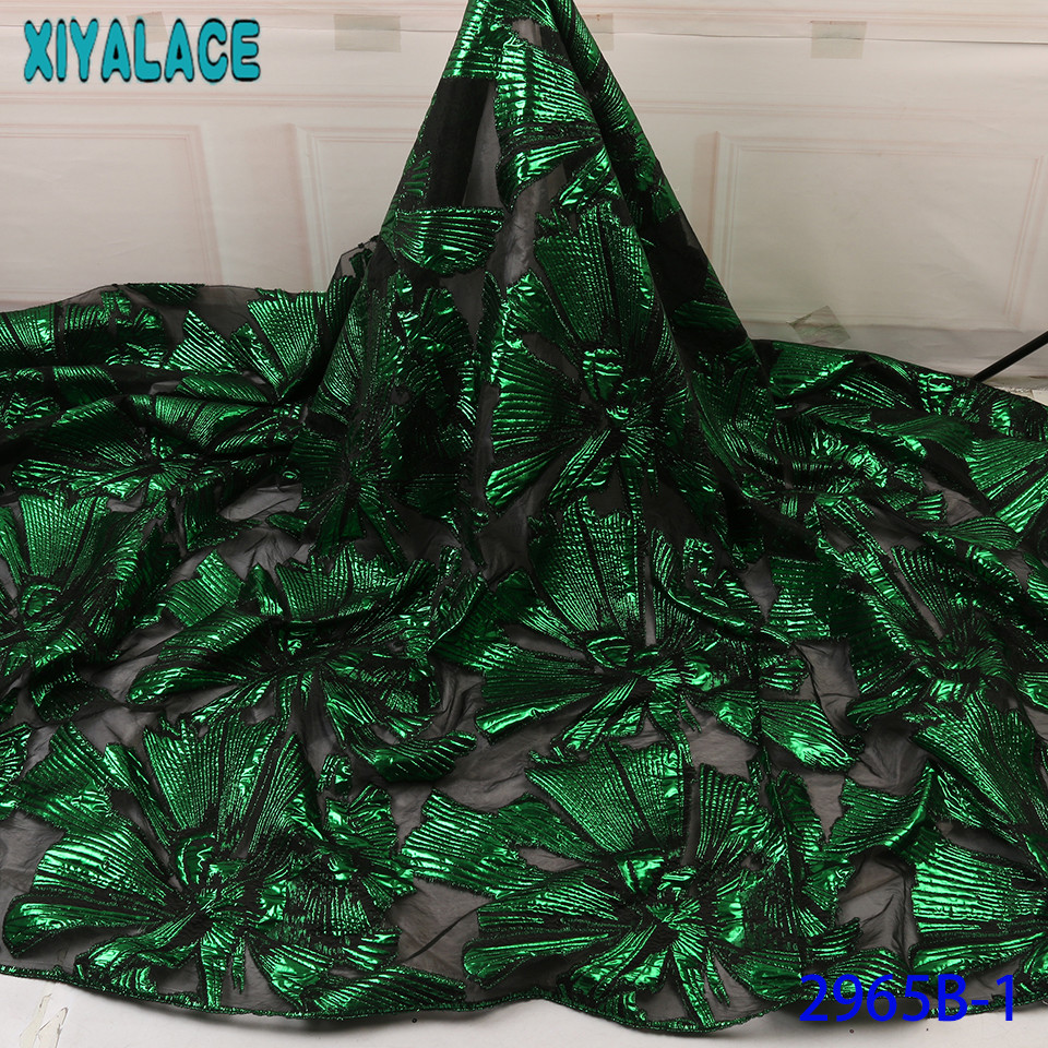 Green Brocade Lace Fabric Newest French Fabric Lace High Quality African Tulle Laces Fashion Design For Women KS2965B