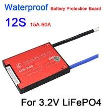 DYKB étanche 12S 36V 15A 20A 30A 40A 50A 60A LiFePO4 BMS batterie au lithium carte de Protection avec balance 12 cellules électrique e bike