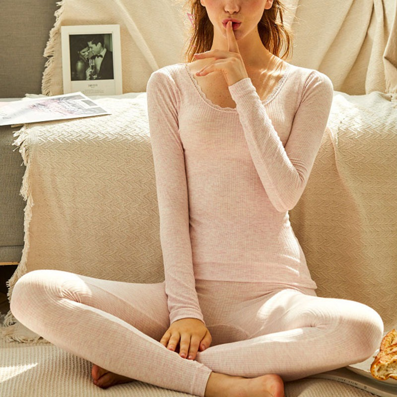 Girl Women Tunic Winter Thermal Underwear Winter Seamless Warm Long Johns Ladies Slim Underwear Sets