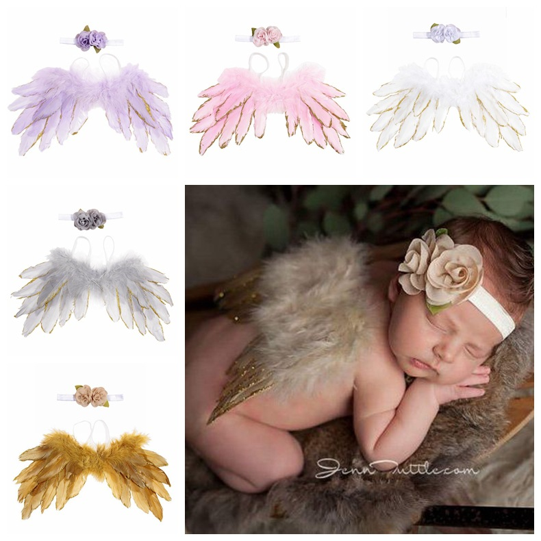 Newborn Photography Props Angel Feather Wings Flower Hair Band Set Baby Girls Boys Outfits Accessories Kids Studio Shoot Unisex
