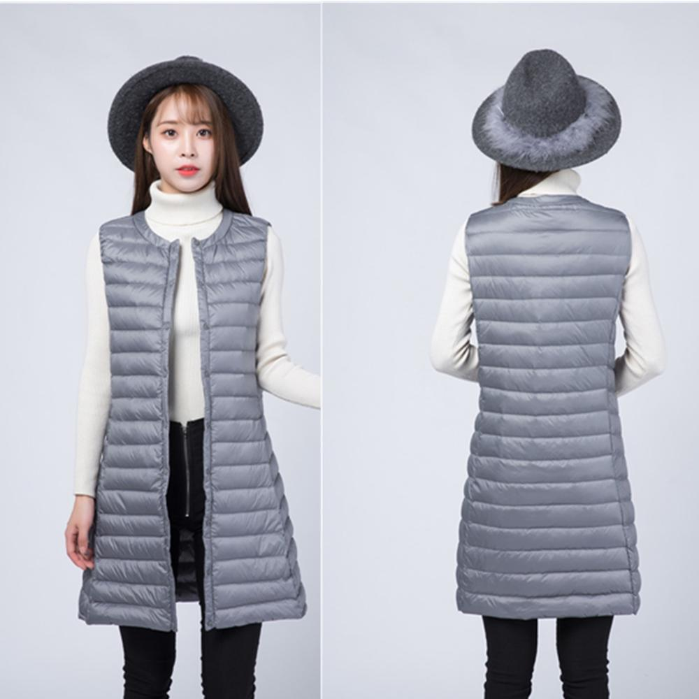 Autumn Winter Women Vests Plus Size Long Sleeveless White Duck Down Vest Coat Casual Waistcoat Ultra-thin Light Weight Outwear