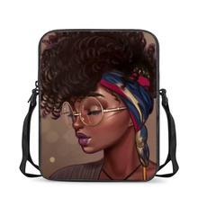 HYCOOL Woman Messenger Bags Cute Glasses African Black Girl Beauty Print Cross-Body Bags for Ladies Teen Kids School Book Bag cheap Polyester zipper 0 18kg 23cm cartoon E-06 Girls 17cm School Bags