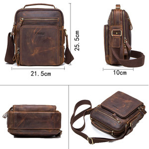 Image 4 - High quality brand crazy horse leather mens shoulder bag vintage messenger bags men bolsos male crossbody bags mans handbag