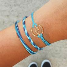 2019 hot sale jewelry Bohemian braided bracelet wave Wave bracelet three-piece simple jewelry(China)