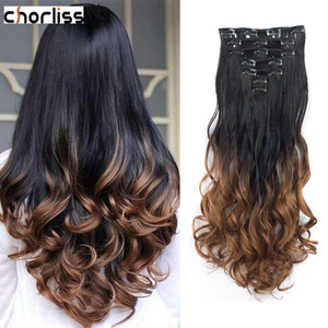 Chorliss 7pcs/set Long Wavy 16 Clips in Hair Extensions Synthetic Clip In Hair Extensions Fake False Hair Ombre Curl Hairpiece