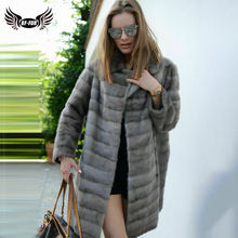 BFFUR 2019 Women's Real Mink Fur Coat Full Pelt Genuine Mink Fur Coats Thin Warm Winter Natural Fur Women Luxurious Jacket