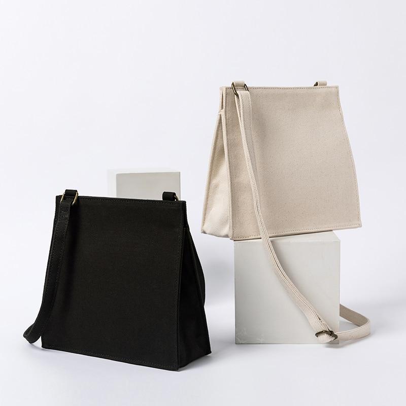 Western Style Small Bag White Canvas Literary Handbags Mori Shoulder Shoulder Small Square Bag
