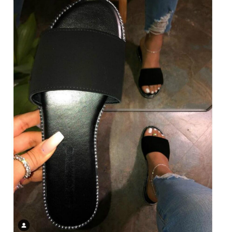 Women Summer Slippers Peep Toe Solid Flat Ladies Slides Beach Shoes Zapatos Mujer Comfortable Fashion Female Slides Footwear