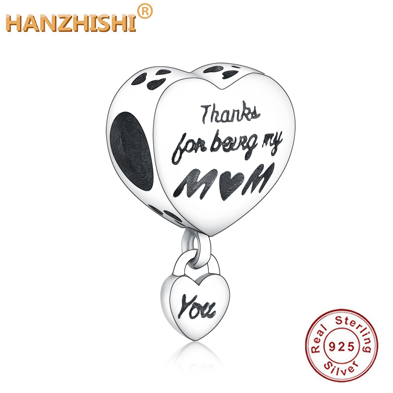 Love You Mum Heart Charm Fit Original Pandora Charm Bracelet 100% 925 Sterling Silver Bead Thanks For Being My Mum Jewelry Gift