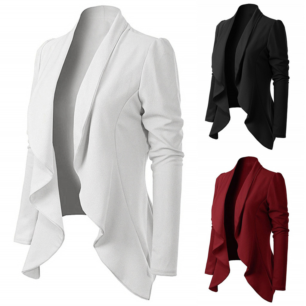 Office Lady Women Elegant Style Long Sleeve Turn Down Collar Ruffle Long Sleeve Brief Fit Blazer Coat Wholesale Free Ship Z4