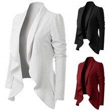 Office Lady Women Elegant Style Long Sleeve Turn Down Collar Ruffle Long Sleeve Brief Fit B