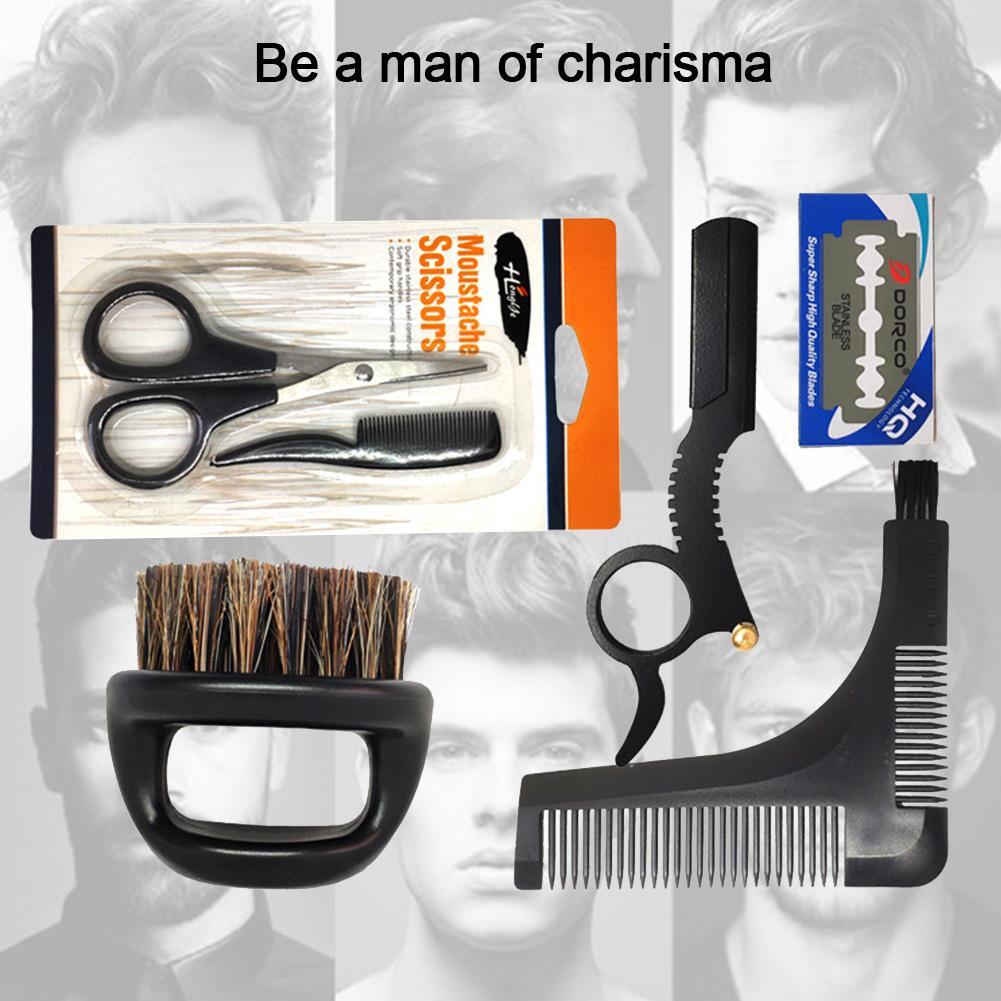 Men's Beard Grooming Kit Trimming Shaving Comb Set Mustache Scissors Shaping Shaver Safety Razor Beard Care Tool For Men